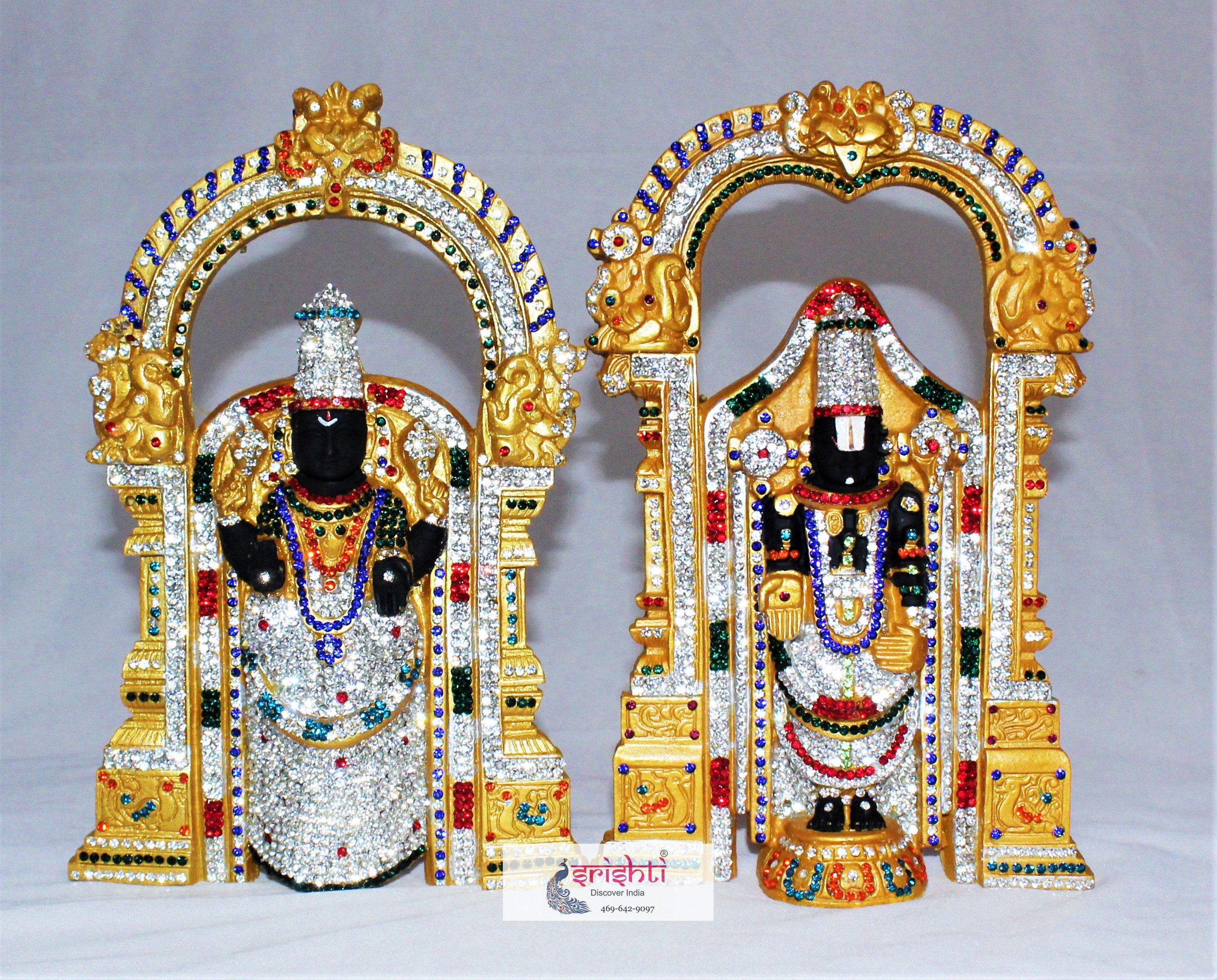Lord Venkateswara  and Thayar Stone work Statue