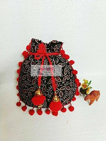 Designer Red with Black Potli Bag -(Pack of 5)  USA & CANADA