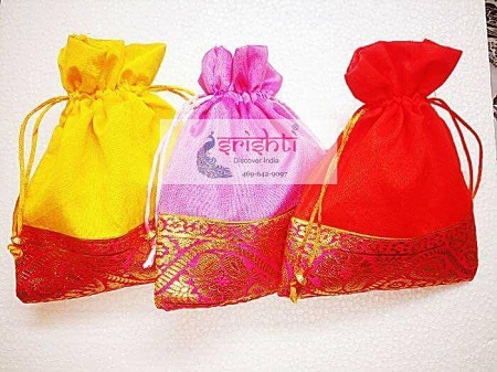 Assorted Colours Potli Bags With Border -001 USA & CANADA
