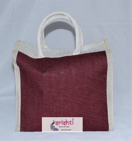 Jute Maroon with White Color Bag