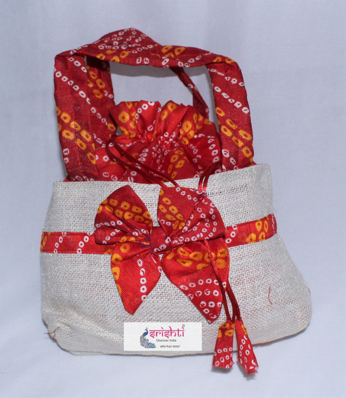 SJBK-Jute Sandal with Red Color Bag