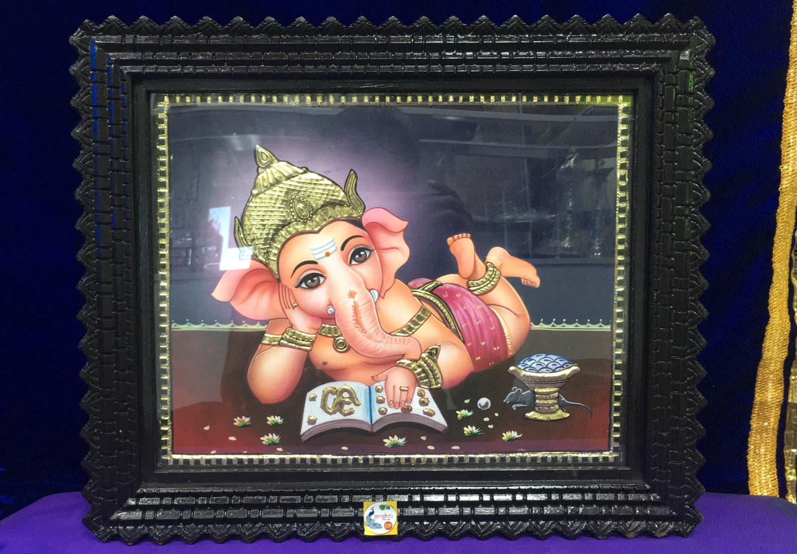 Tanjore Painting Photo frame- Baby Ganesh