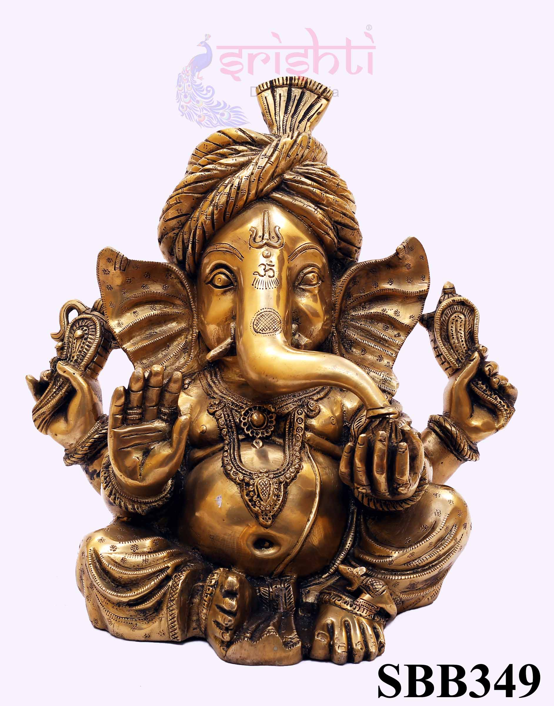 SSBU-Brass Turban Ganesha-14 Inches