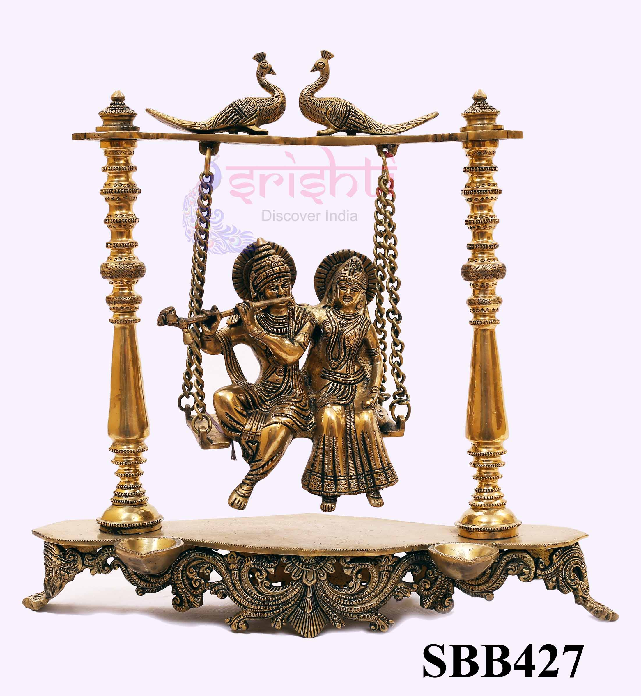 SSBU-Brass Radha Krishna on Jula-16 Inches