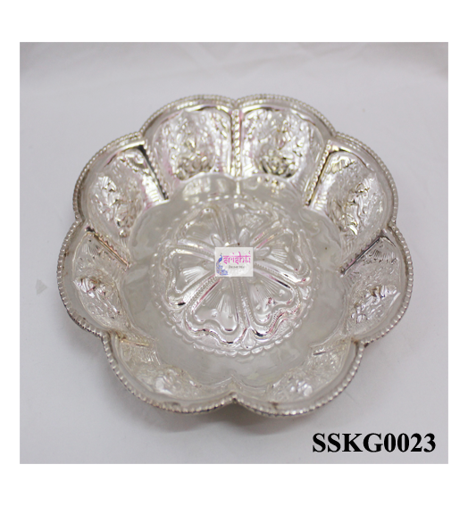 SSSD-Pure Silver Flower Design Plate-386 Gms