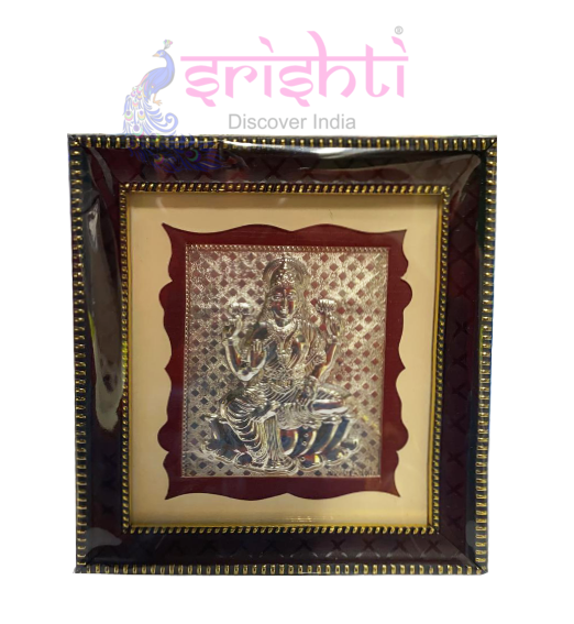 SSSD-Silver Lord Lakshmi Photo Frame-5.5 Inches