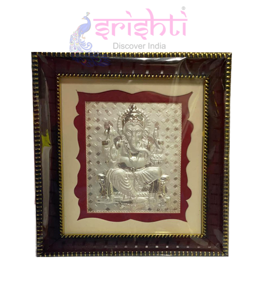SSSD-Silver Lord Ganesha Photo Frame-6 Inches