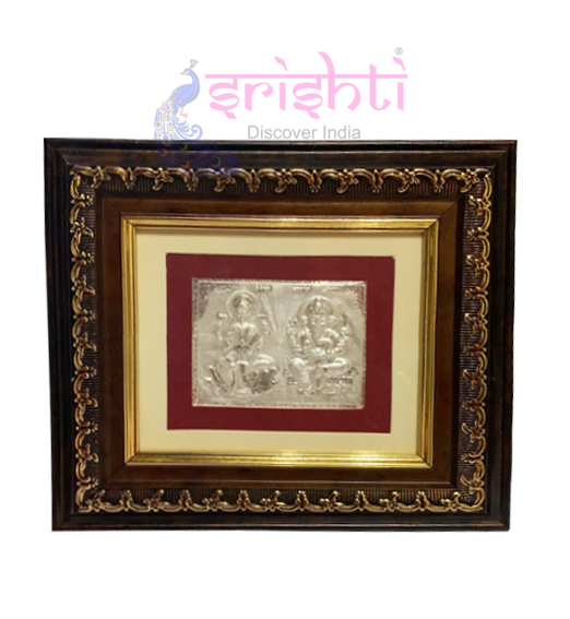 SSSD-Silver Lord Lakshmi Ganesha Photo Frame-8 Inches