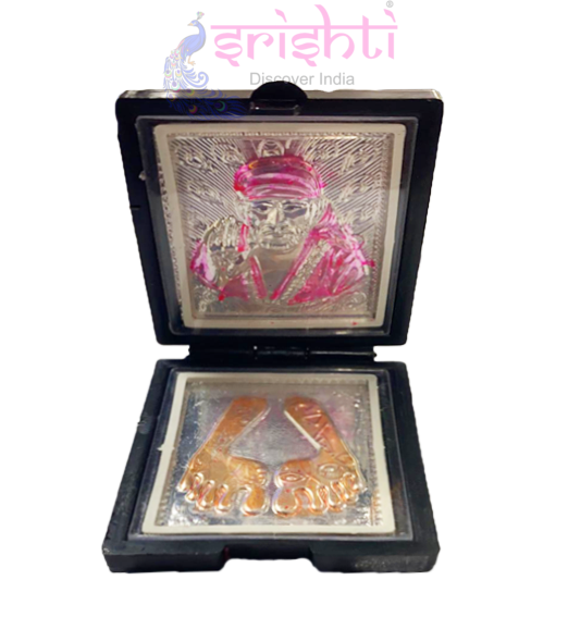 SSSD-Silver Sai Baba with Padhuga Gift Stand-3 Inches
