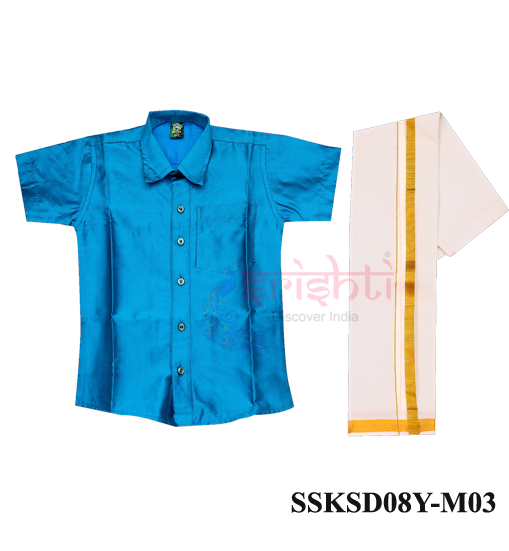 SADV-Srishti Readymade Kids Dhoti with Shirt Blue Color