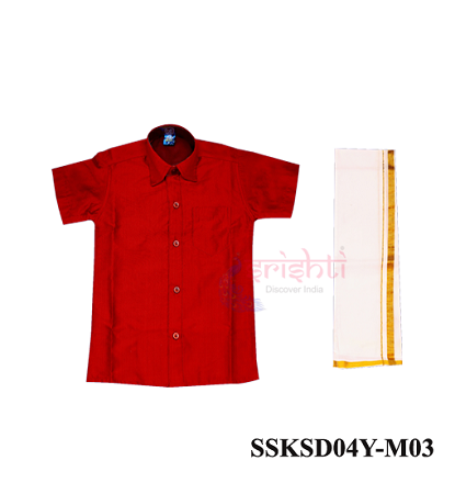 SADV-Srishti Readymade Kids Dhoti with Shirt Red Color USA & CANADA