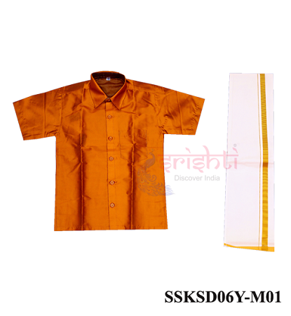SADV-Srishti Readymade Kids Dhoti with Shirt Orange Color USA & CANADA