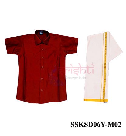 SADV-Srishti Readymade Kids Dhoti with Shirt Maroon Color USA & CANADA