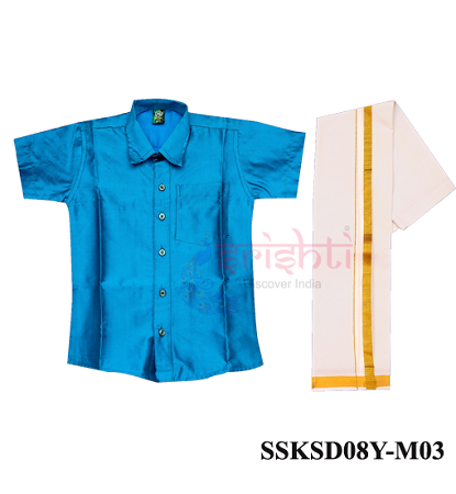 SADV-Srishti Readymade Kids Dhoti with Shirt Blue Color USA & CANADA