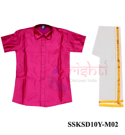 SADV-Srishti Readymade Kids Dhoti with Shirt Pink Color USA & CANADA