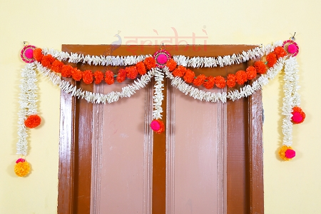 SHDP-Artificial Marigold Strings Entrance Door Hanging Set-M02 USA & CANADA