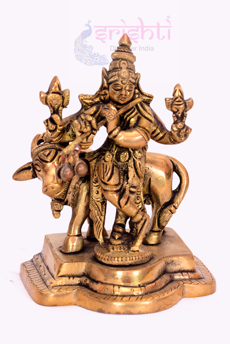 SSBU-Brass Cow Krishna-4 Inches