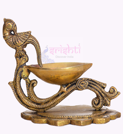 SSBU-Brass Lotus With Parrot Diya-4 Inches