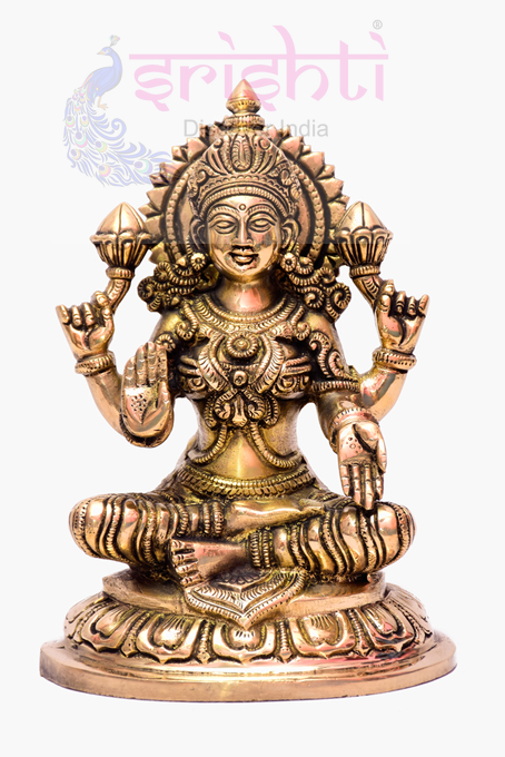SSBU-Brass Lakshmi Statue-7 Inches
