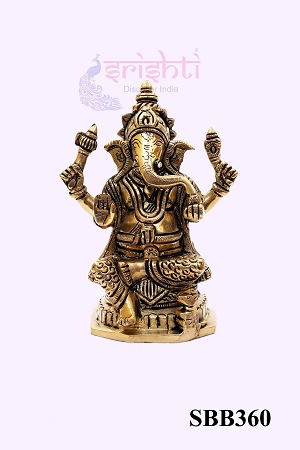SSBU-Brass Ganesha-5.5 Inches-M01 USA & CANADA
