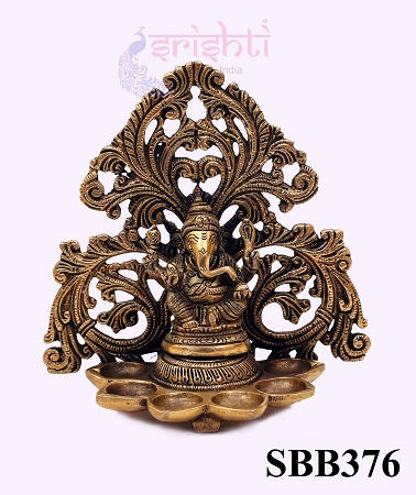 SSBU-Brass Ganesha Wall Hanging Diya-6.5 Inches USA & CANADA