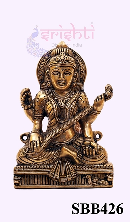 SSBU-Brass Wall Hanging Saraswathy-7 Inches USA & CANADA