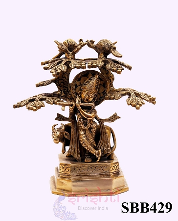 SSBU-Brass Krishna with Cow and Tree-9 Inches USA & CANADA