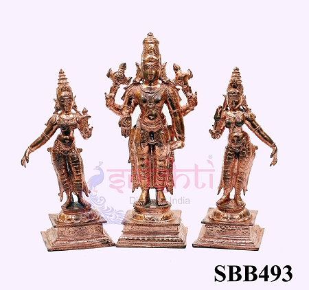 SSBU-Copper Perumal with Sridevi Bhudevi-6.2 Inches USA & CANADA