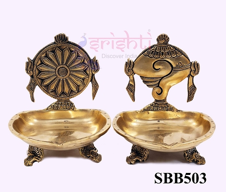 SSBU-Brass Shankh Chakra Diya Pair-6 Inches USA & CANADA