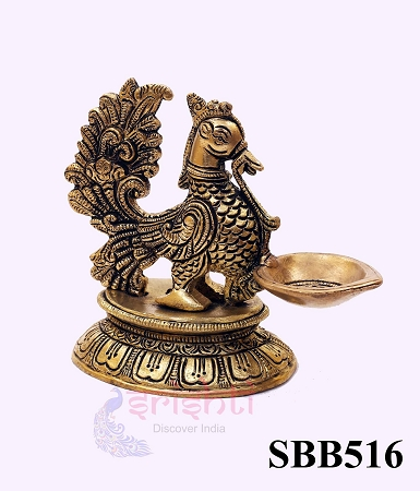 SSBU-Brass Annam Diya with Stand-4.5 Inches USA & CANADA