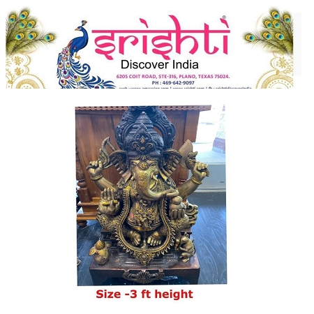 SRBU-Brass Ganesha Idol Model 1 USA & CANADA