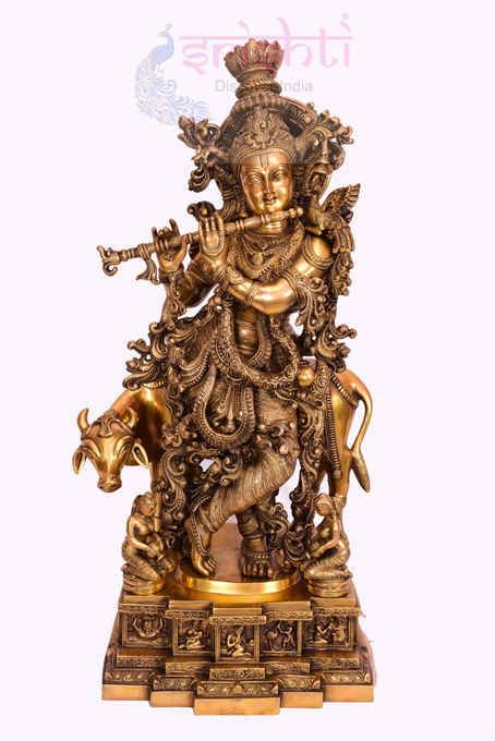 SSBU-Brass Cow Krishna-29 Inches USA & CANADA