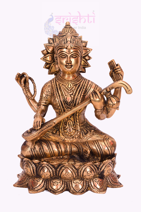SSBU-Brass Lotus Saraswathy-8 Inches USA & CANADA