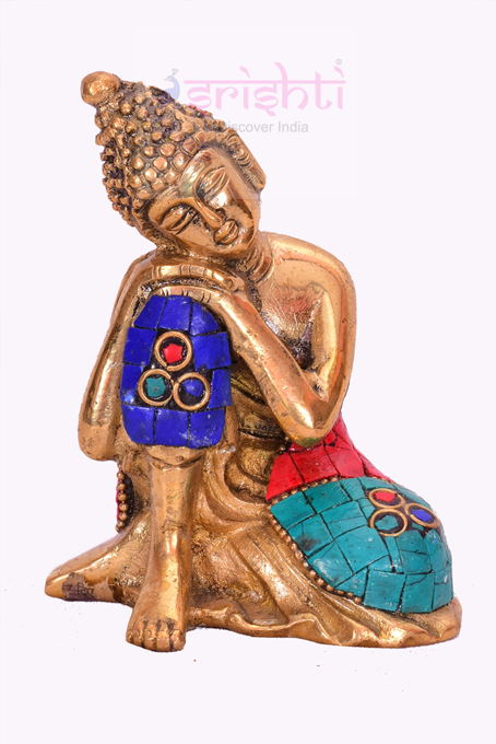 SSBU-Brass Resting Buddha-4 Inches USA & CANADA