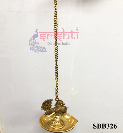 SSBU-Brass Peacock Hanging Diya-16.5 Inches