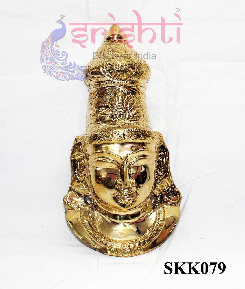 SKPU-Brass Goddess Amman Face-9 Inches-M02