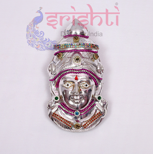 SMMC-Varalakshmi Amman Face Metal Plated Stone Work-7 Inches-M02