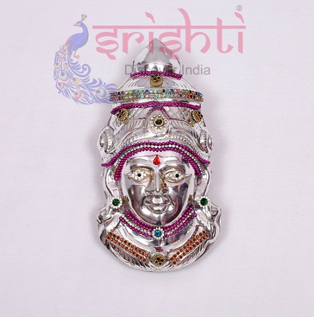 SMMC-Varalakshmi Amman Face Metal Plated Stone Work-7 Inches-M02 USA & CANADA