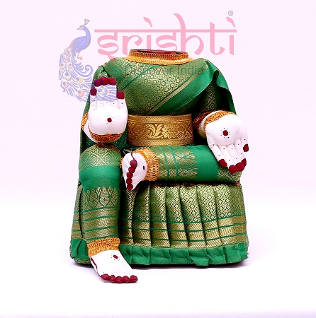 SVVB-Varalakshmi Idol Amman Dress Green-10 Inches USA & CANADA