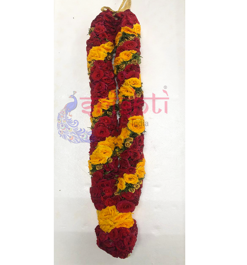 SFPG-Fresh Button Rose Garland Red with Yellow-BRP20