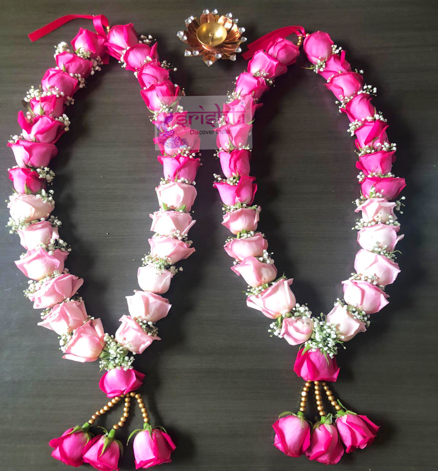 SFWG-Fresh Pink Rose Bud Wedding Garland Pair-RBW23