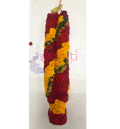 SFPG-Fresh Button Rose Garland Red with Yellow-BRP18 USA & CANADA