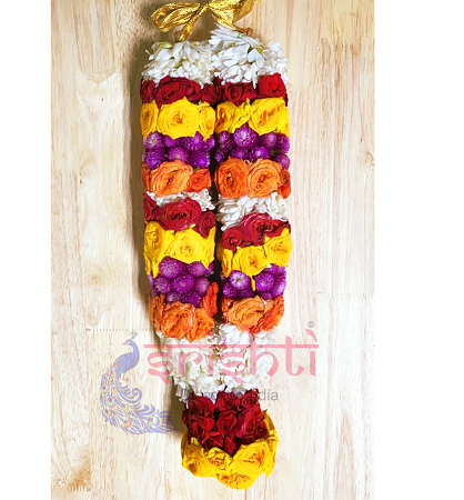 SFPG-Fresh Button Rose Garland Red with Yellow-BRP26 USA & CANADA