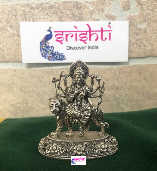 SSSD-Pure Silver Antique Durga Idol