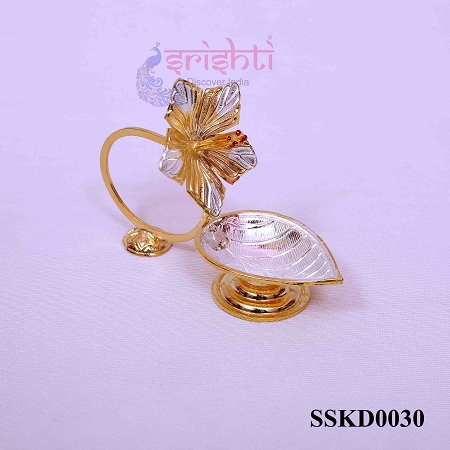 SSSD-Pure Silver Flower Diya Gold Plated-20 Gms USA & CANADA