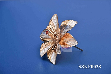 SSSD-Pure Silver Archana Flower Gold Plated-14 Gms USA & CANADA