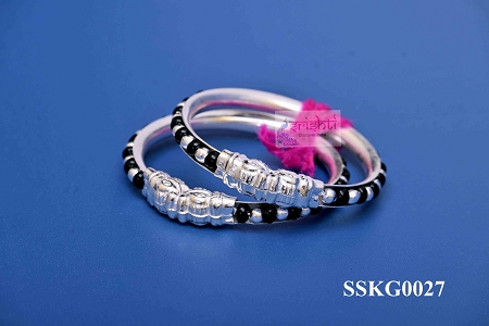 SSSD-Pure Silver Baby Bangles with Black Beads Pair M02-16 Gms USA & CANADA