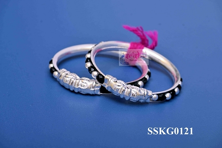 SSSD-Pure Silver Baby Bangles With Black Pair-15 Gms USA & CANADA