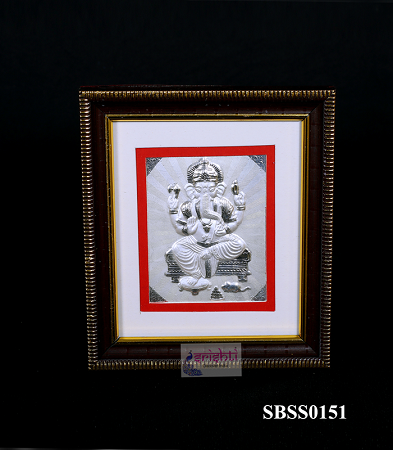 SSSD-Pure Silver Lord Ganesha Photo Frame-5.6 Inches USA & CANADA