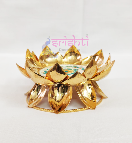 SSSD-Gold Coated Silver Lotus Stand